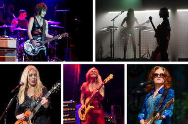 Joan Jett, St. Vincent, Bonnie Raitt, Lita Ford, Nancy Wilson (clockwise from top left)