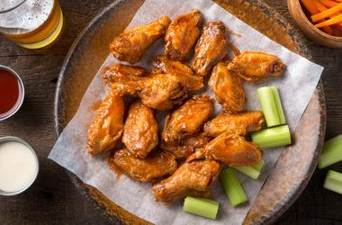 a plate of buffalo wings