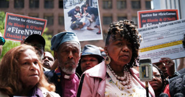 Gwen Carr, mother of Eric Garner, joins others during a news conference outside of Police Headquarters in Manhattan to protest during the police disciplinary hearing for Officer Daniel Pantaleo