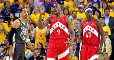 Jun 7, 2019; Oakland, CA, USA; Toronto Raptors center Serge Ibaka (9) reacts after a play during the fourth quarter against the Golden State Warriors in game four of the 2019 NBA Finals at Oracle Arena.