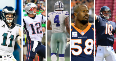 NFL Jersey Sales: Philadelphia Eagles' Carson Wentz, New England Patriots' Tom Brady, Dallas Cowboys' Dak Prescott, Denver Broncos' Von Miller, Chicago Bears' Mitch Trubisky