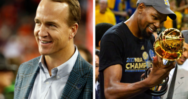 Peyton Manning at the 2017 College Football Playoff National Championship Game between the Alabama Crimson Tide and the Clemson Tigers / Golden State Warriors forward Kevin Durant celebrates winning the 2017 NBA Finals MVP award