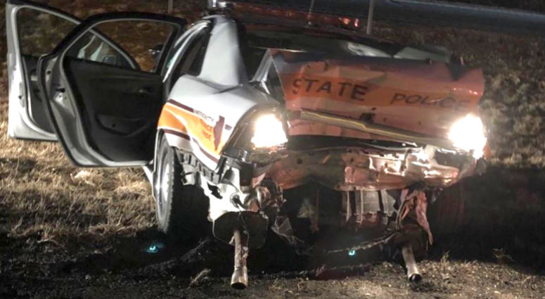 The state trooper was injured Sunday evening after an alleged drunk driver rear-ended his vehicle.