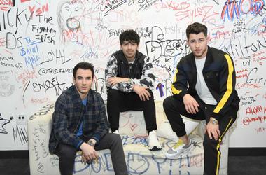 Kevin Jonas, Joe Jonas, Nick Jonas of The Jonas Brothers Visit Music Choice on March 01, 2019