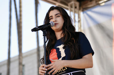 Lauren Jauregui performs during the 2019 Women's March Los Angeles