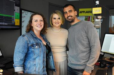 Andrea Duffy with Jillian Bell and Paul Downs Colaizzo of Brittany Runs a Marathon