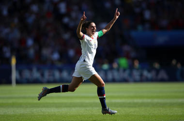 Carli Lloyd of the USA celebrates after scoring her team's first goal during the 2019 FIFA Women's World Cup France group F match between USA and Chile at Parc des Princes on June 16, 2019 in Paris, France.