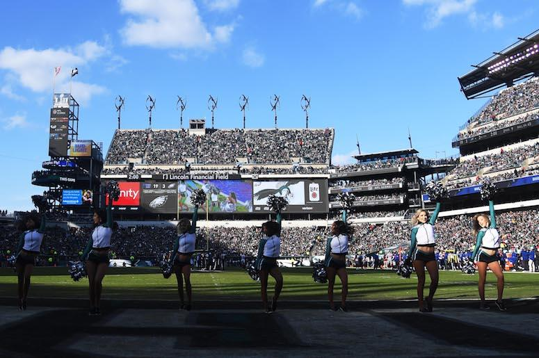 Philadelphia Eagles cheerleaders perform during the game against the New York Giants at Lincoln Financial Field