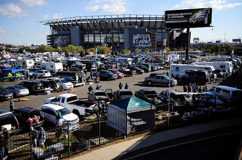 Fans tailgate at Lincoln Financial Field before the Philadelphia Eagles take on the Minnesota Vikings on October 23, 2016 in Philadelphia, Pennsylvania.