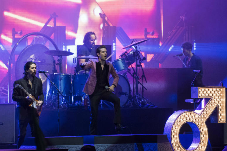 6/24/2018 - The Killers perform on stage during the Isle of Wight festival at Seaclose Park, Newport.