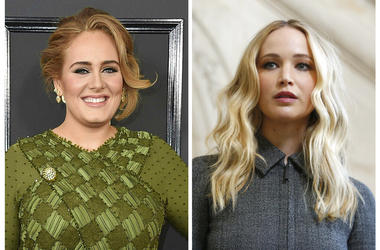 Adele at the 59th annual Grammy Awards in Los Angeles on Feb. 12, 2017, left, and actress Jennifer Lawrence at the Dior ready to wear Fall-Winter 2019-2020 collection in Paris on Feb. 26, 2019