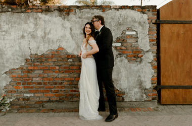 In this Saturday, April 20, 2019, photo provided by Katch Silva, Michelle Branch and Patrick Carney pose for a photo in New Orleans. The Grammy-winning musicians tied the knot Saturday at the Marigny Opera House in front of close friends and family, a rep