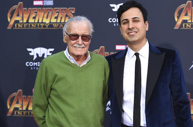 "Stan Lee, left, and Keya Morgan arrive at the world premiere of ""Avengers: Infinity War"