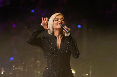Bebe Rexha performs in the 2019 NHL All Star Game