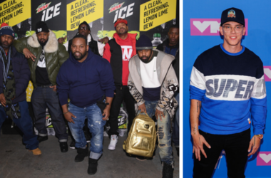 Masta Killa, Ghostface Killah, RZA, Method Man, GZA, (front) Raekwon and Cappadonna of Wu Tang Clan attends the Mtn Dew ICE launch event on January 18, 2018 in Brooklyn, New York. /  Logic. 2018 MTV Video Music Awards at Radio City Music Hall.