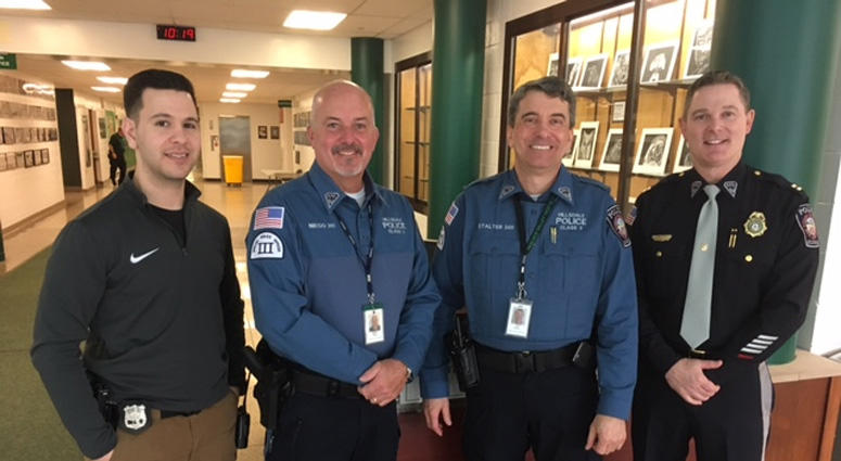 Hillsdale School Resource Officer Mike Camporeale, School Security Officer Mike Niego, School Security Officer Chip Stalter, Hillsdale Police Captain Sean Smith