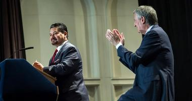 Schools Chancellor Richard Carranza, Mayor Bill de Blasio