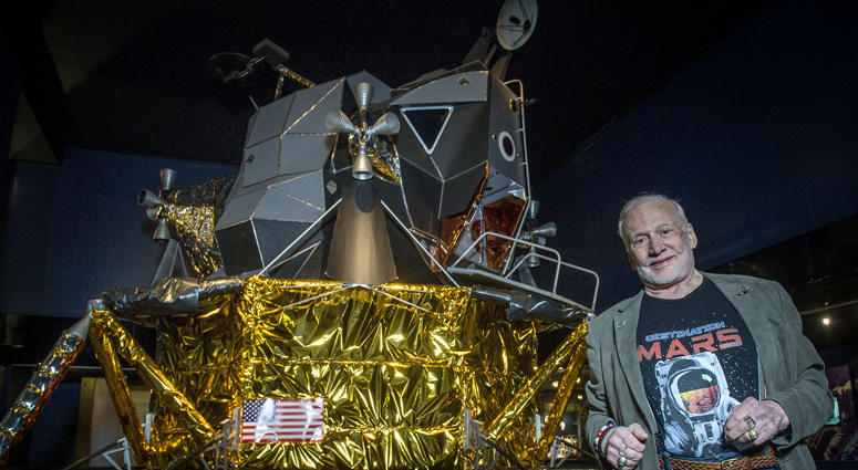 Buzz Aldrin With Apollo 11 Model