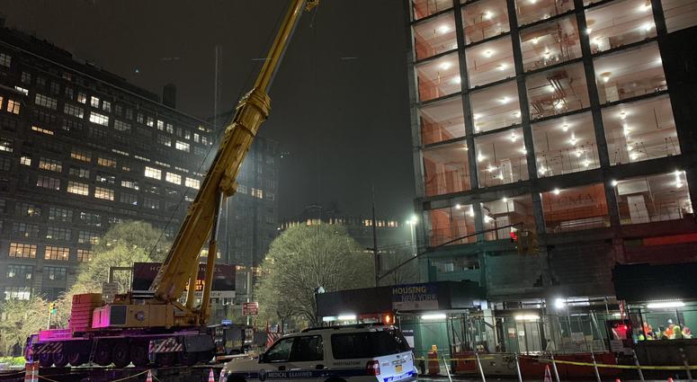 Construction site of crane accident