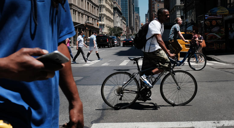 Bicyclists and pedestrians in New York City