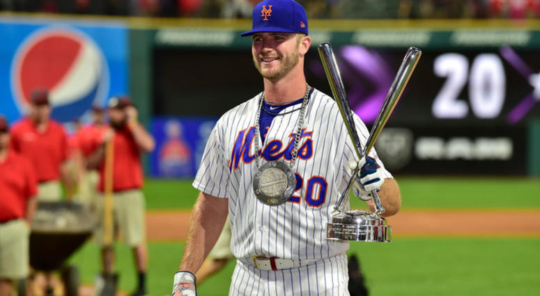 Pete Alonso of the New York Mets celebrates winning the T-Mobile Home Run Derby at Progressive Field on July 08, 2019