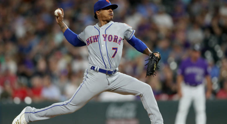 Marcus Stroman #7 of the New York Mets throws in the fifth inning against the Colorado Rockies at Coors Field on September 17, 2019