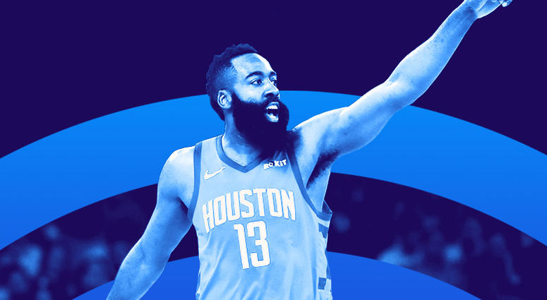 James Harden of the Houston Rockets points during the NBA Playoffs.