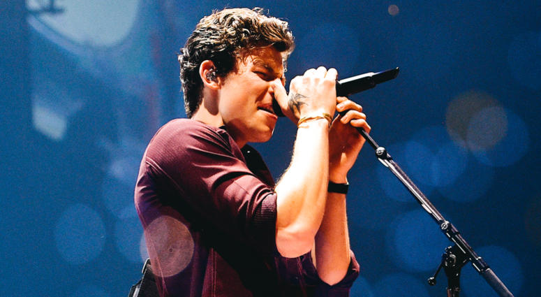Shawn Mendes performs on stage.
