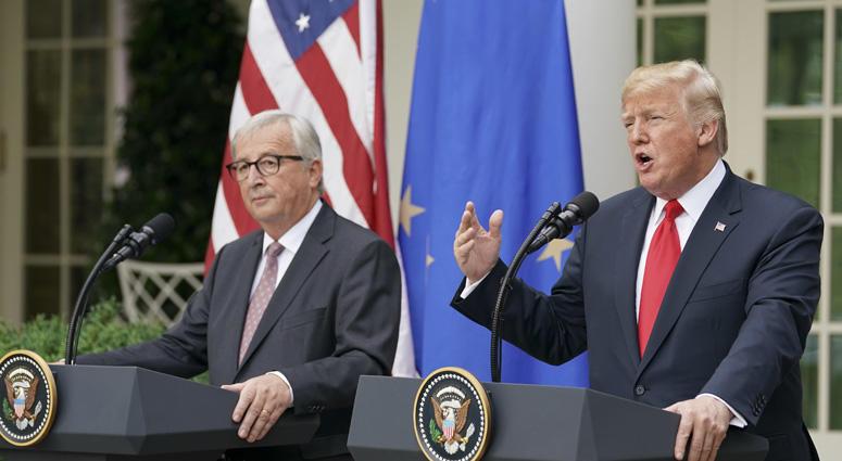 President Donald Trump And European Commission President Jean-Claude Juncker