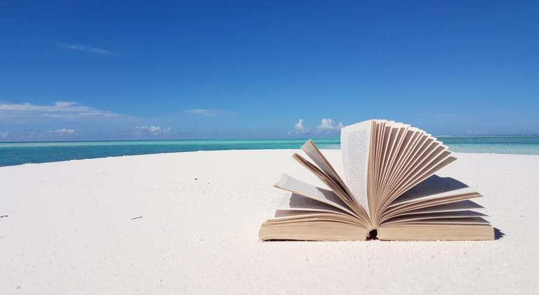 Maldives beautiful beach background white sandy tropical paradise island with blue sky sea water ocean 4k book