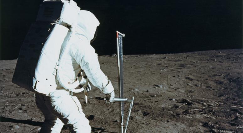 Edwin 'Buzz' Aldrin Jr deploys the Solar Wind Composition experiment.