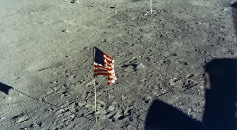 The United States flag is planted on the surface of the Moon