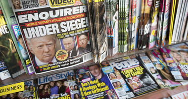 National Enquirer featuring President Donald Trump on its cover at a store in New York.