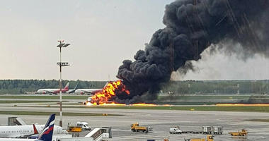 Moscow plane fire