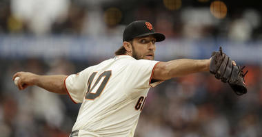San Francisco Giants pitcher Madison Bumgarner works against the New York Mets during the first inning of a baseball game Thursday, July 18, 2019, in San Francisco.