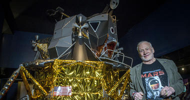 Buzz Aldrin With Apollo 11 Model