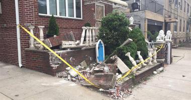 Destruction Caused By Alleged Drunken Garbage Truck Driver