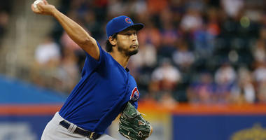 Pitcher Yu Darvish #11 of the Chicago Cubs delivers a pitch against the New York Mets during the first inning of a game at Citi Field on August 27, 2019 in New York City.