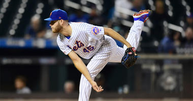 Zack Wheeler #45 of the New York Mets follows through with a pitch in the first inning of their game against the Miami Marlins at Citi Field on September 26, 2019 in the Flushing neighborhood of the Queens borough in New York City.