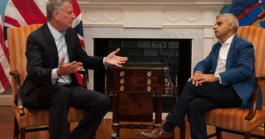 New York Mayor Bill de Blasio meets with London Mayor Sadiq Khan