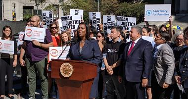Letitia James at ICE lawsuit rally
