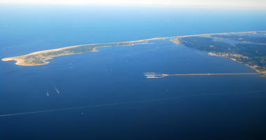 An Aerial View of Sandy Hook, Raritan Bay and the Naval Station Earle, New Jersey