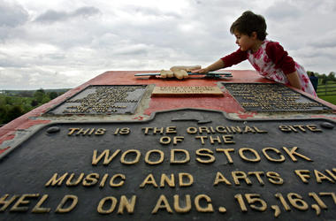 Memorial at the site of the Woodstock Music and Arts Fair in Bethel, N.Y.