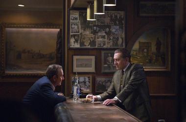 "Joe Pesci, left, and Robert De Niro in a scene from ""The Irishman."""