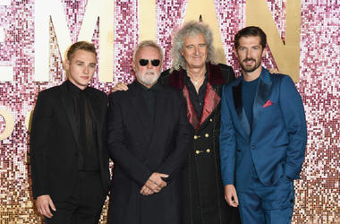 Ben Hardy, Roger Taylor, Brian May and Gwilym Lee attend the World Premiere of 'Bohemian Rhapsody'