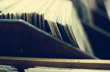 Vintage crate of vinyl records