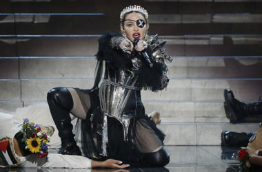 Madonna, performs live on stage after the 64th annual Eurovision Song Contest