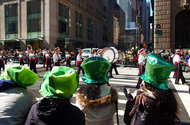 Crowd watching St Patrick's Day Parade