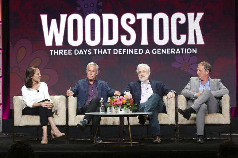 Susan Bellows, from left, author Joel Makower, Joel Rosenman, co-producer of the 1969 Woodstock festival, and director/writer/producer Barak Goodman