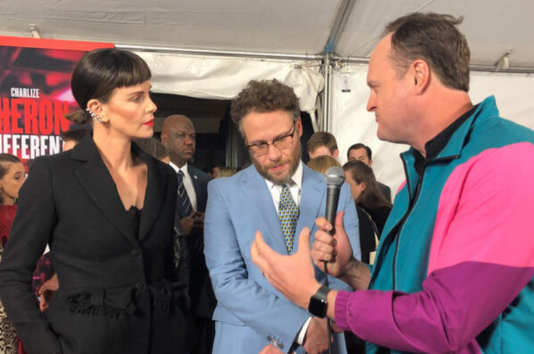 Charlize Theron, Seth Rogen and Brad Blanks on the 'Long Shot' red carpet in NYC